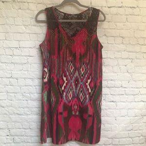 Miss Me Pink Boho  Lace Back Shift Tunic Dress